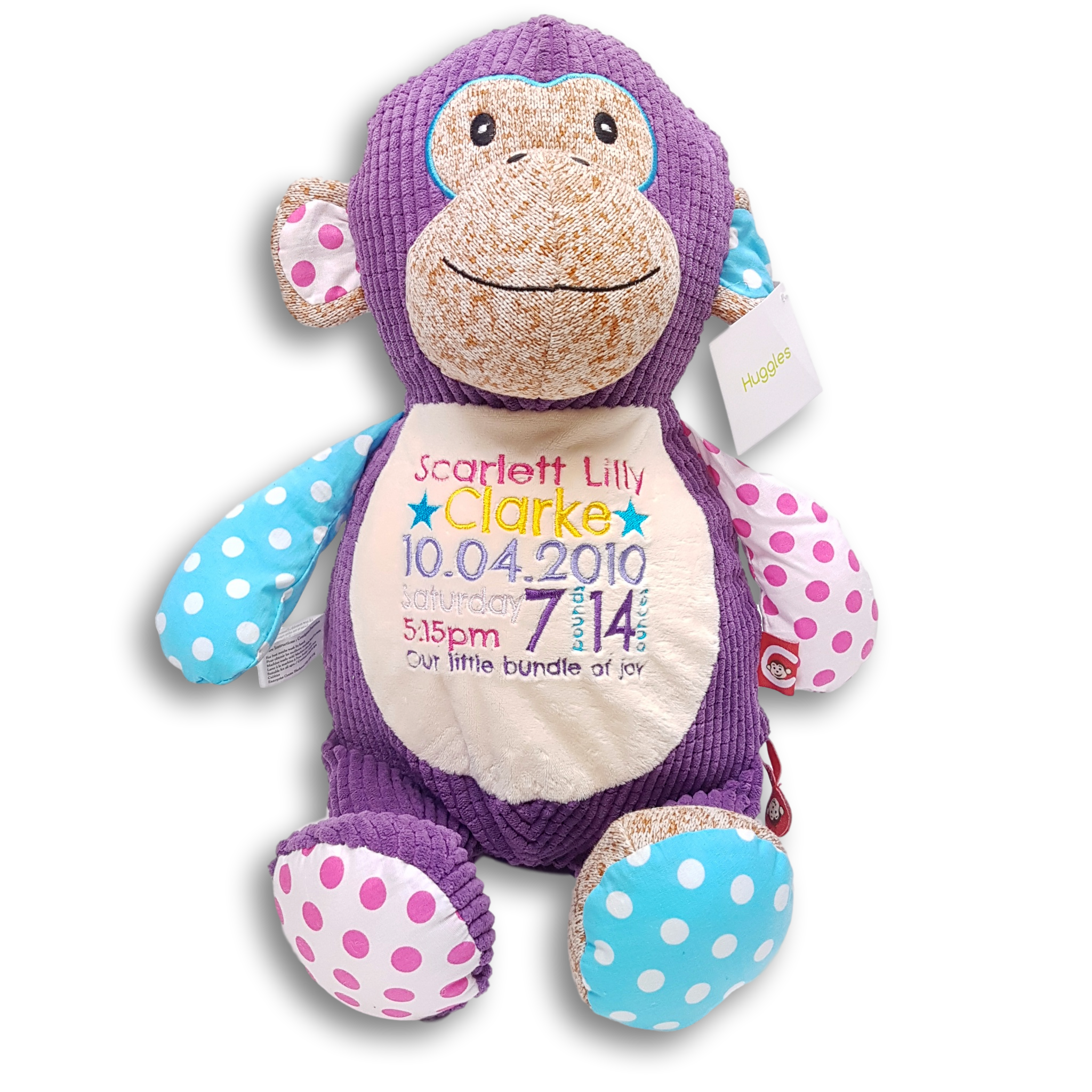 Birth details Keepsake Personalised baby embroidered soft toy new