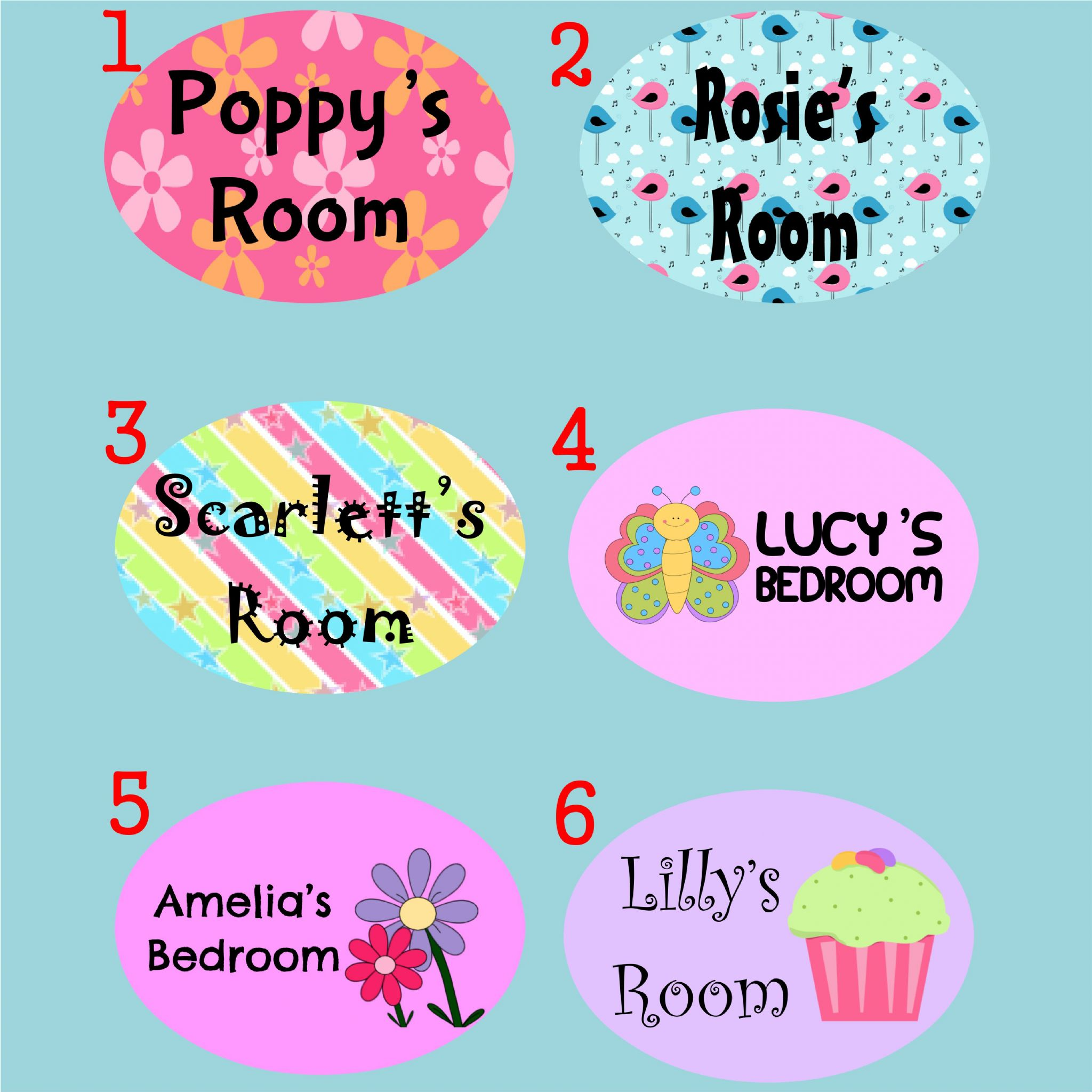 Kids children child bedroom door name plate plaque plack sign personalised with your childs names for Childrens bedroom door name plates