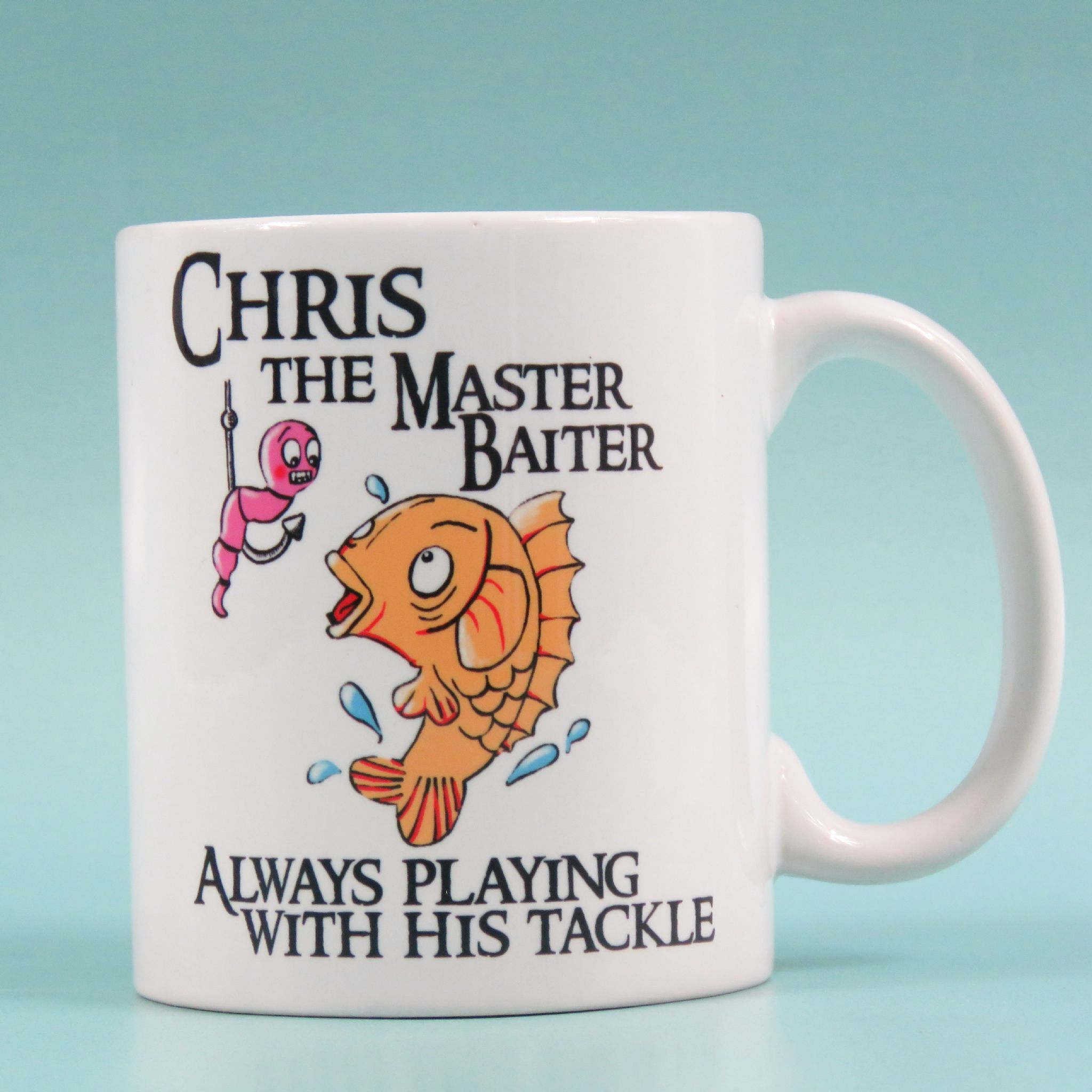 Master baiter mug funny fishing joke playing with tackle for Fishing gifts for him
