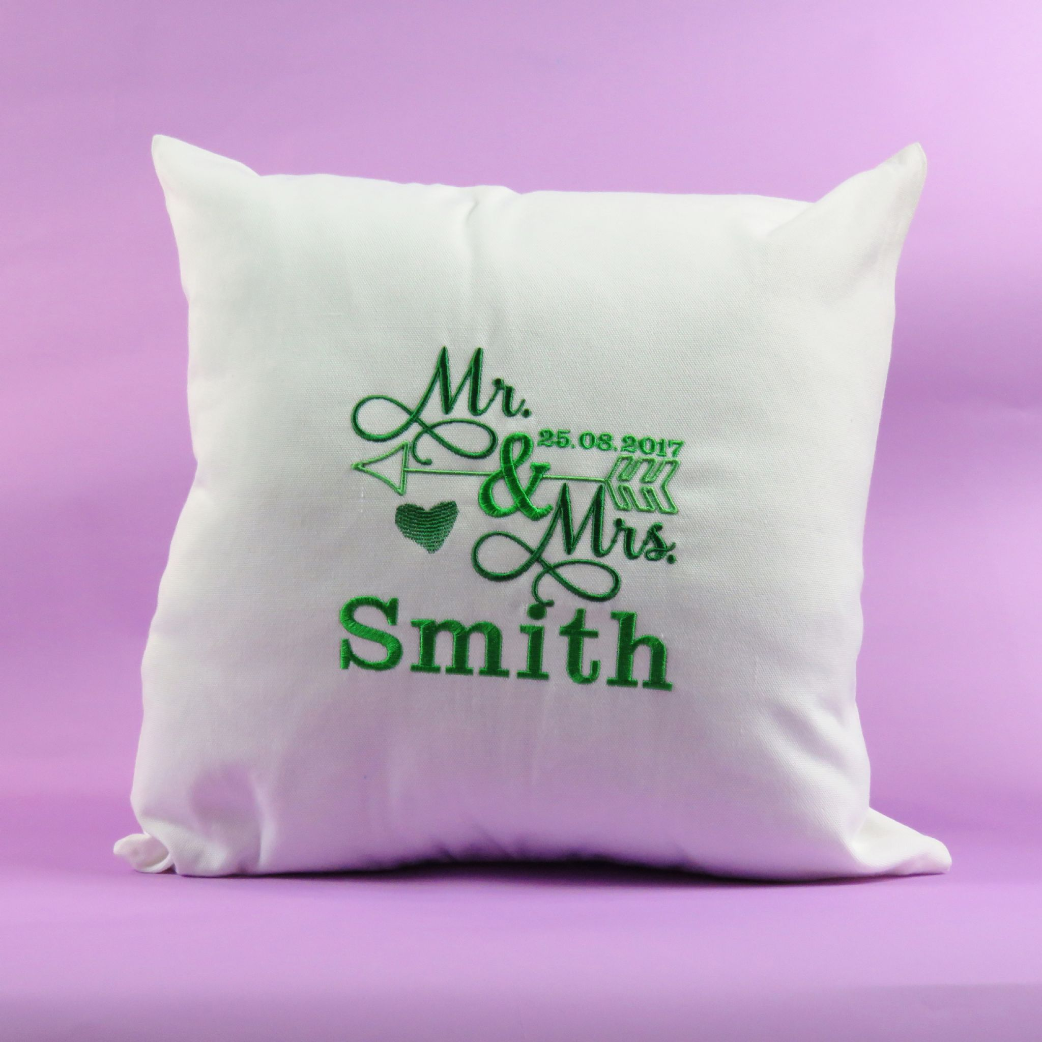 Personalised embroidered arrow personalisable cushion